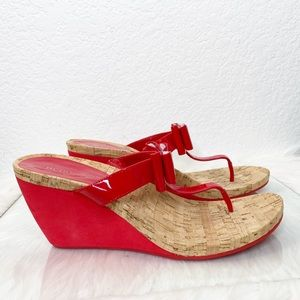 BCBGeneration Red Wedges with Bows NWOT